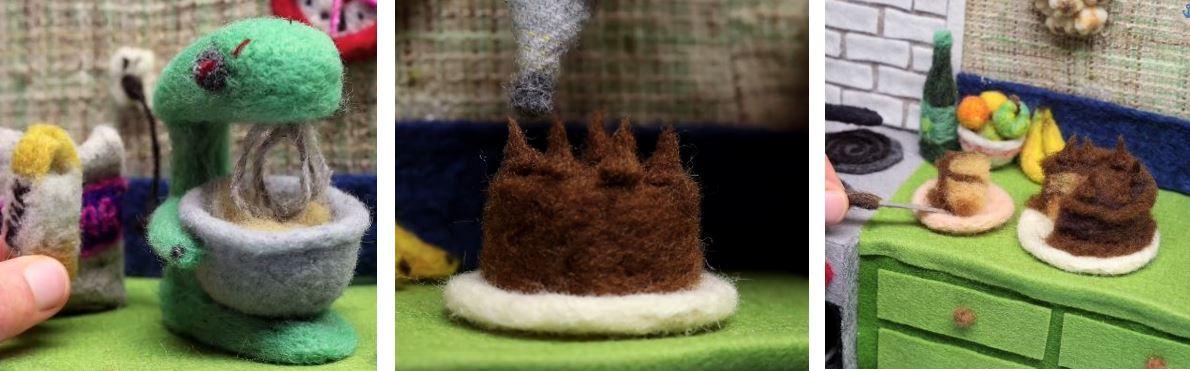 Gâteau en feutre de laine