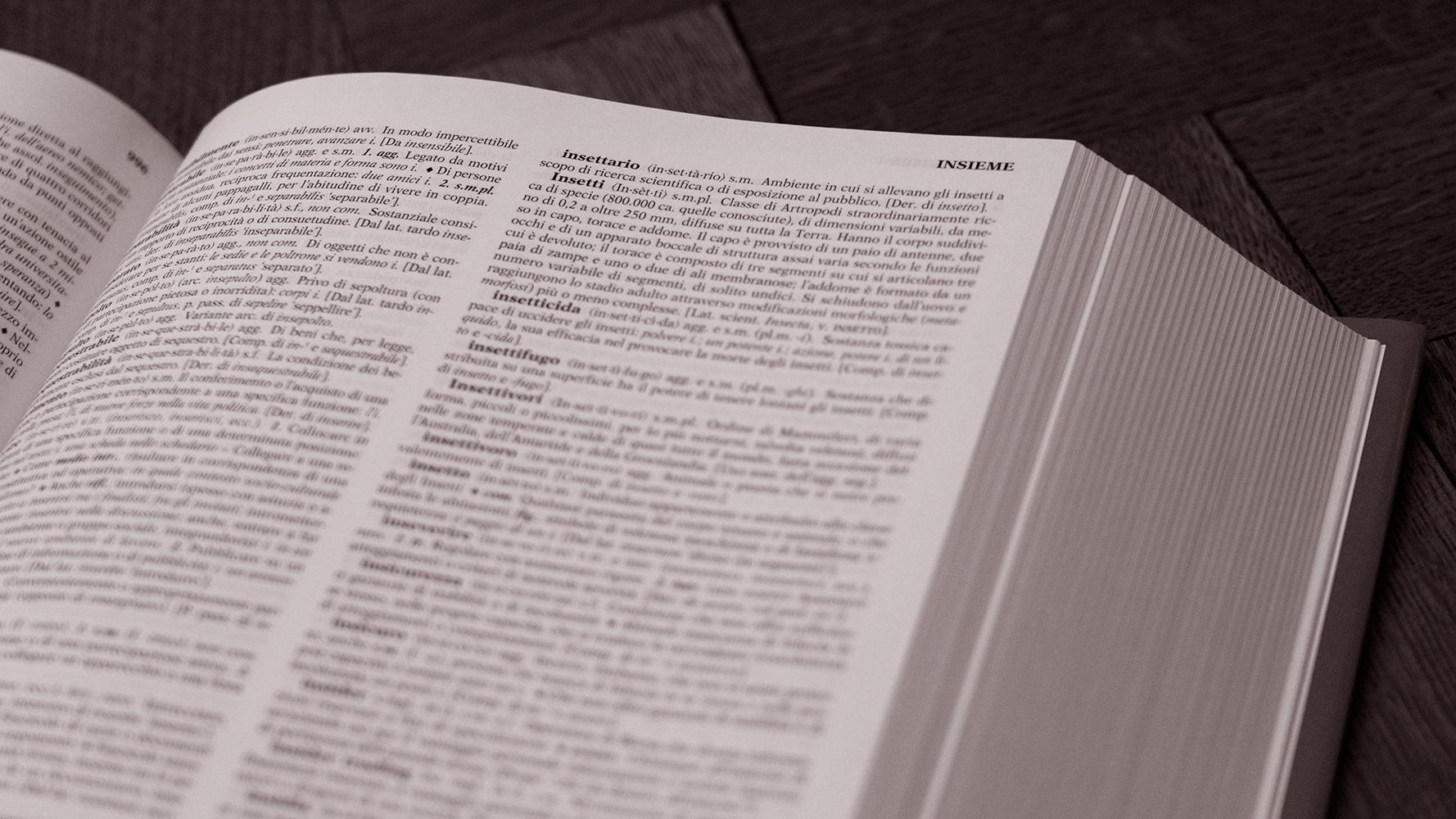 Detailansicht eines Italienisch-Wörterbuchs
